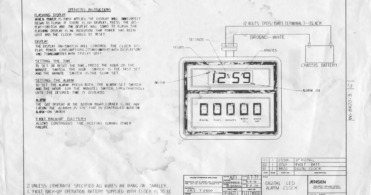 1983 Fleetwood Pace Arrow Owners Manuals: Digital alarm